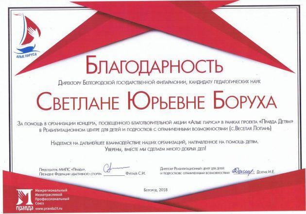 Благодарность С.Ю. Боруха